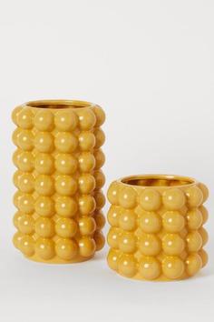 Hohe Vase mit Blasenrelief - Senfgelb - Home All | H&M AT 2