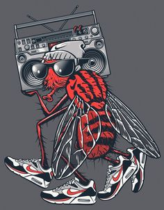 NIKE vs. RUSC • Summer 2012 on the Behance Network #urban #halftone #shoe #nike #illustration #fly #boombox