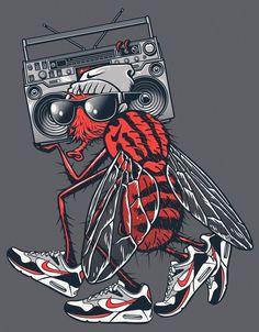 NIKE vs. RUSC • Summer 2012 on the Behance Network #urban #halftone #shoe #nike #illustration #fly #boombox