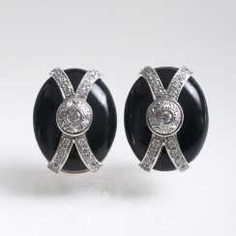 Pair Of Brilliant And Onyx Earrings