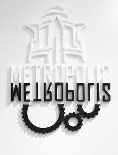 Metropolis city guide app #yonatan #white #ziv #metropolis #black #sci #fi #app #logo #&white