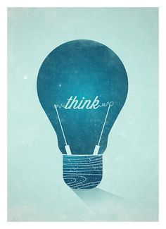 Think Graphic Wall Decor Poster – Vintage Light Bulb Typographic Art Print #print #design #graphic #vintage #poster #typography
