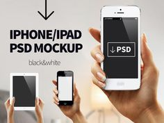 Black and White iPhone/iPad Free PSD MOCKUP