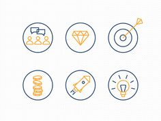 icons, icon set, graphic design, flat, illustration, diamond, money, rocket, lamp, caroline berg stem, science park