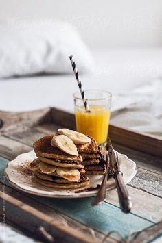 food, breakfast, pankcakes, banana, orange