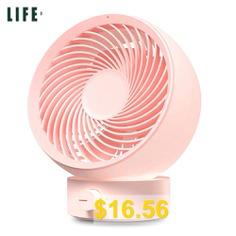 3 #LIFE #330 #Rotatory #Variable #Speed #Mini #Desktop #USB #Fan #- #PINK