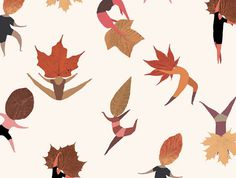 The Wallery mariadiamantes #design #illustration #pattern #leaf #autumn #wall #dance #dancing #vinil #thewallery