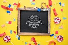 Birthday concept with slate and candy Free Psd. See more inspiration related to Mockup, Birthday, Happy birthday, Party, Anniversary, Celebration, Happy, Candy, Chalkboard, Mock up, Decoration, Decorative, Celebrate, Birthday party, Sweets, Festive, Up, Lollipop, Birth, Happy anniversary, Concept, Slate, Annual, Composition and Mock on Freepik.