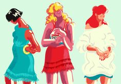 ilustraminacje, Girls in their summer dresses