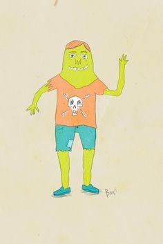monster #monsters #illustration #skulls #monster #denim #skull #green