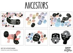 6 Postcard SET // ANCESTORS // Fine art paper door joanarosab #illustration #etsy
