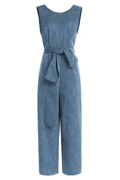 Cotton-Linen Belted Jumpsuit, Isa Arfen