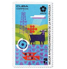 grain edit · Cuba Expo 70 Stamps #stamp #expo #postage #geometric #bull