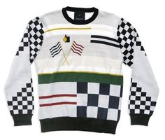PEGLEG NYC - Item - Racer Knit Sweater (White) #pegleg #sweater #fashion #nyc #racing #knit