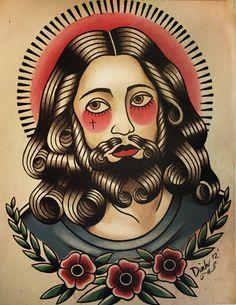 Jesus Tattoo Flash Art Print #tattoo