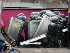 Police on graffiti