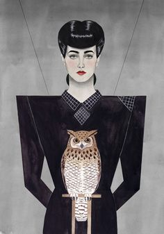 Rachael Illustration by Paul X. Johnson #rachel #owl #blade #runner #illustration