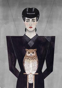Rachael Illustration by Paul X. Johnson #rachel #owl #blade #runner #illustration