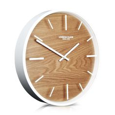 London Clock Company 'Skog' Wall Clock, Wood and White, 30cm x 4.5cm