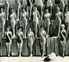 1954 Miss Universe Beauty Pageant Miss New Zealand faints under the hot sun of Long Beach, California. Imgur #photo #heat #fall #women #contest #society #miss #beauty
