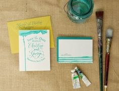 Wedding Stationery: DIY Save-the-Date - The Bride's Guide : Martha Stewart Weddings #watercolor #stationery