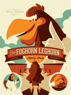 X__X • 死 者 の 顔 • | Tom Whalen #merrie #foghorn #illustration #henery #poster #melodies #cartoon #leghorn #hawk