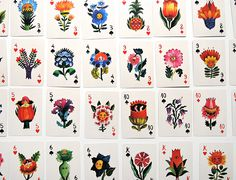 flower, flowers, flora, design, illustration, cards, playing cards, aces