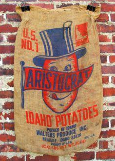 Typeverything.com VintageAristocratbrand potato sack from Walters Produce Inc., Newdale, Idaho.(ViaPopKulture) #screenprint #characters #typography