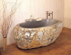 Stone forest bathtub from natural granite #artistic #bathroom #furniture #art #bathtub
