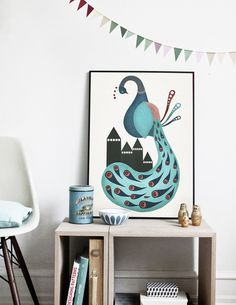 #nordic #design #graphic #illustration #danish #bright #simple #nordicliving #living #interior #kids #room #poster #peacock #blue #bird