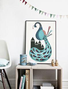 #nordic #design #graphic #illustration #danish #bright #simple #nordicliving #living #interior #kids #room #poster #peacock #blue #bird