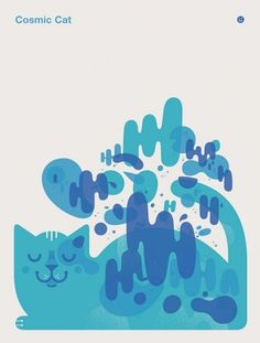 cosmic cat | Flickr - Photo Sharing! #printmaking #of #design #cat #little #illustration #poster #cosmic #friends