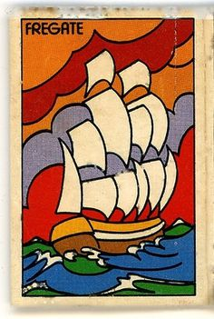 fregate front | Flickr - Photo Sharing! #lines #retro #illustration #colorful #vintage #boat #matchbook