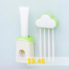 Cloud #Cottage #Creative #Automatic #Toothpaste #Cartoon #Toothbrush #Holder #Set #- #MINT #GREEN