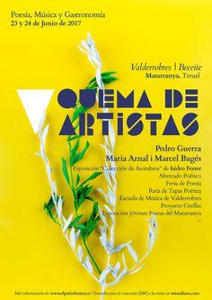 V Quema de Artistas, 23 y 24 de junio en la comarca del Matarranya (Teruel) #poster #design #graphicdesign #artdirection #photography #festi