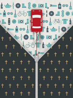 solidarnosz_stylus #shopping #sellout #death #zipper #illustration #car