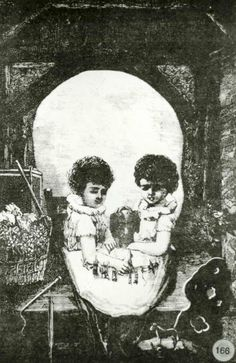 [Trick photograph creating optical illusion of two children or a skull] [picture] , State Library of Victoria #illustration #design #photography #skull