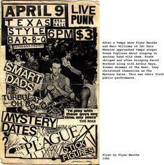 sanantonio_texas_punk_smartdads_turbulationohboy_mysterydates_plague_stickfigures_TXstyleBBQ_4 9 1982.jpg (1008×1016) #gig #poster