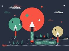Dribbble - Fireworks by Martin #red #texture #night #illustration #fireworks #explode #blue #trees #green