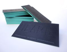 Personal Business Cards MARIN DEARIE > hello #dearie #emboss #edge #teal #business #black #marin #paint #identity #type #cards