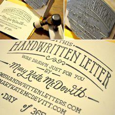 Typeverything.com\\nHandwritten Letter Stamp byMary Kate McDevitt.\\n(via iloveligatures)