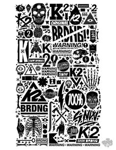 ILLUSTRATION- Great Works / K2 Snowboarding x DXTR / Vandal 12/13 by DXTR , via Behance #snowboarding #white #black #illustration #and #typography