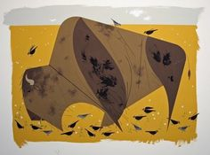 Buffalo Gouache and cut paper on illustration board