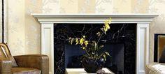 Roberto Cavalli art wallpaper in living room