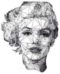 Josh Bryan Triangulation Pen Portraits 1 #monroem #marilyn #triangles