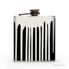 Dripping Wet 6oz Whiskey Hip Flask #white #drips #graffiti #flask #black #paint #and