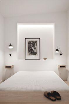 Bedroom with Japanese inspired 'Tokonoma'. Copenhagen Penthouse I by Norm.Architects. #bedroom #tokonoma #normarchitects #minimalism