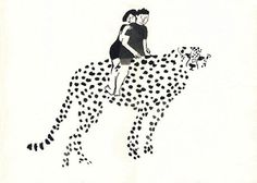 ona trabal #leopard #couple #cat #dots #illustration