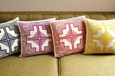 16x16 native quilt pillow mulberry purple by shapescolors #pillow #geometric #navajo
