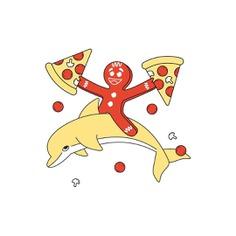 Za time!! #pizza #za #gingerbread #dolphin #weird #illustration